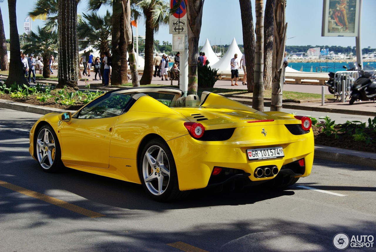 ferrari 458 spider 7 avril 2016 autogespot. Black Bedroom Furniture Sets. Home Design Ideas